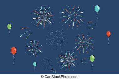 jahr, unabhängigkeit- tag, party, bunte, luft, feuerwerk, luftballone, feiertag, neu , wohnung, illustration., geburstag, vektor