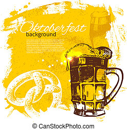 Jahrgangs-Hintergrund auf dem Oktoberfest. Hand gemalte Illustration. Splash-Band-Retrodesign mit Bier