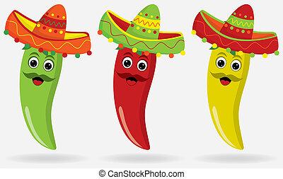 jalapeños, mexikanisch, sombreros!