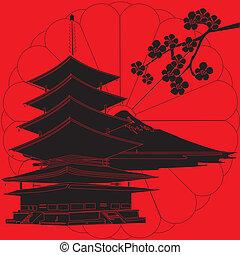 Japan hat einen roten Hintergrund.
