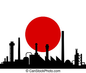 japan, industriebereiche, fahne