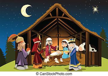 Jesus Christus und drei weise Männer