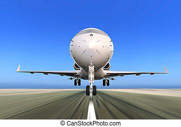 Jetflugzeug startet mit Bewegungsmix