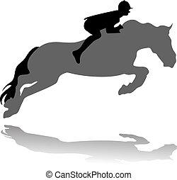 Jockey mit Springpferd