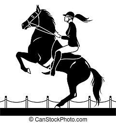 jockey, pferd fahren, springende , shows