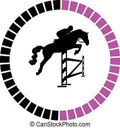 Jockey und Pferd.