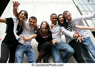 jugend- gruppe, posierend, foto