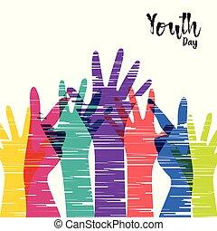 Jugendtagskarte verschiedener Menschen Gruppenhände