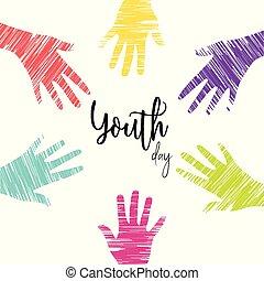 Jugendtagskarte von verschiedenen jungen Menschen Hände