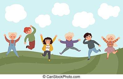 jumping., kinder, glücklich
