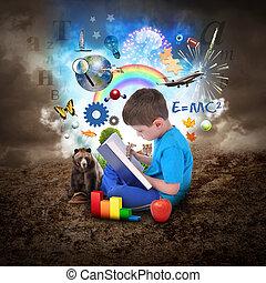 junge, buch, bildung, lesende , gegenstände