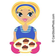 Junge Frau mit Kuchen in der Hand.