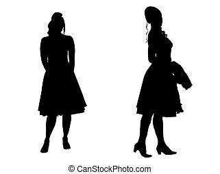 Junge Frauen - Silhouette