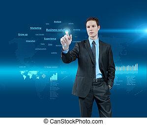 Junge Geschäftsmänner wählen Geschäftslösungen in holografischer virtueller Realitätsinterface. Zukünftige Sammlung. Eine Serie.