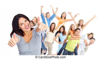 Junge glückliche Menschen, Gruppenfotos.