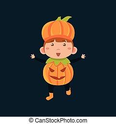 junge, haloween, pumpkinhead, wagenheber, verkleidung