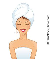 Junge lächelnde Frau mit Handtuch