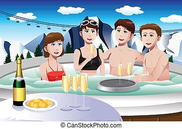 Junge Leute genießen Whirlpool