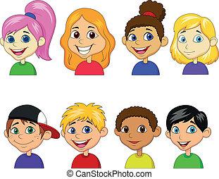 junge, m�dchen, satz, karikatur, sammlung