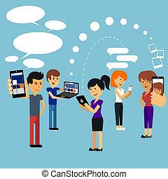 Junge Menschen, Mann und Frau mit Technologie-Gadget.