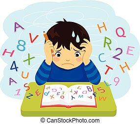 Junge mit Lernschwierigkeiten.
