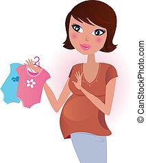 Junge oder Mädchen? Schwangere Frau.