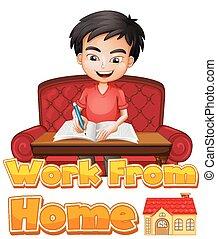 junge, schriftart, daheim, hausaufgabe, design, arbeit