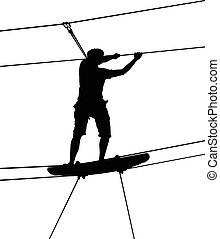 junge, silhouette, maenner, park, ladder., junger, seil, hintergrund., holz, abenteuer, adventure., starke