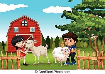 Junge und Mädchen mit Tieren auf der Farm.