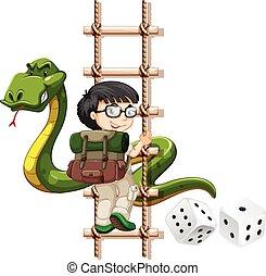 Junge und Schlange klettern die Leiter hoch.