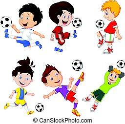 junge, wenig, fußball, karikatur, spielende