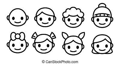 junge, wenig, grobdarstellung, heiligenbilder, isolated., set., glücklich, kopf, sammlung, traurige , vektor, moods., lächeln, emoji, karikatur, verschieden