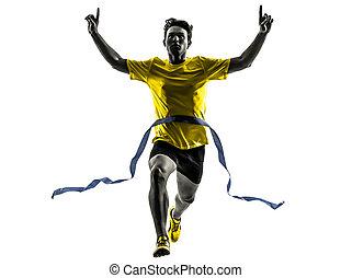 Junger Mann, Sprinter-Runner, Gewinner, Ziellinie Silhouette