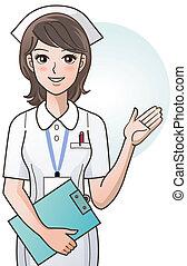 junger, reizend, karikatur, versorgen, krankenschwester