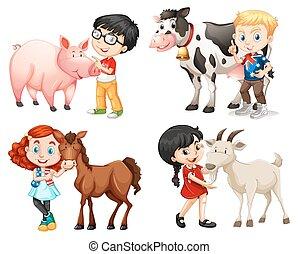 Jungs und Mädchen mit Bauerntieren.