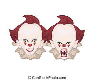 köpfe, clowns, dunkel, charaktere, halloween, übel