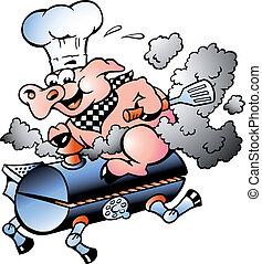 küchenchef, fass, reiten, schwein, bbq