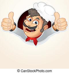 küchenchef, koch, ausstellung, daumen
