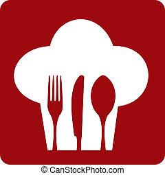 küchenchef, restaurant., ikone