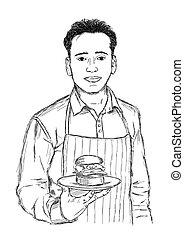 küchenchef, -, skizze, hand, mann, hamburger, vektor