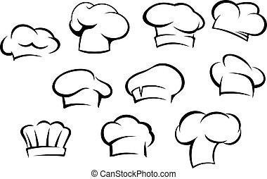 küchenchef, weißes, hüte, kappen