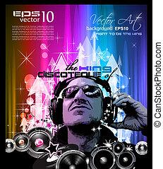 Künstlerischer Discoflieger mit DJ-Form