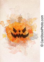 kürbis halloween, unheimlicher , aquarell, painting.