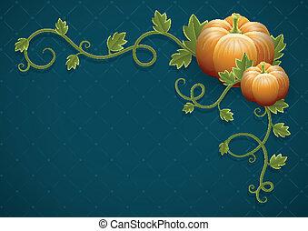 Kürbisgemüse mit grünen Blättern