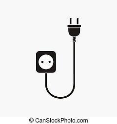 Kabelstecker und Socket - Vektorgrafik.