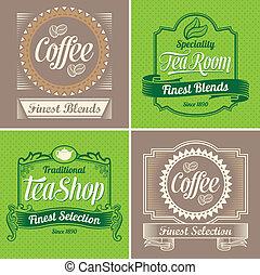 Kaffee und Tee-Etiketten.