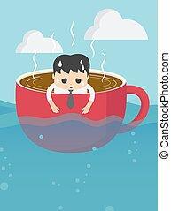 kaffeetasse, muede, meer, geschäftsmann, ausstellung, seine, ausdruck, überarbeiten, gewaltig