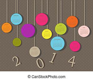 Kalender für 2014 mit Kreisen