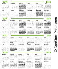 Kalender, neues Jahr 2015, 2016, 20.