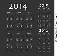 kalender, vektor, jahr, 2016, 2015, 2014, europäische